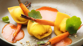 Cappelletti with Ricotta, Roasted Baby Carrots, Carrot Cream