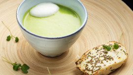 Pea Soup, Baked Goat Curd, Honey
