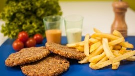 Vege Burger with French Fries