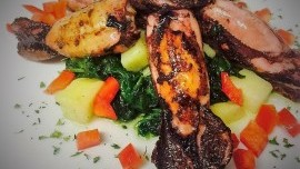 Grilled Squid and Swiss Chard with Potatoes