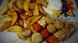 Tuna and Small Calamari Skewers with Pepper and Baked Potatoes
