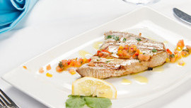 Tuna Steak with Tomato and Caper Pesto